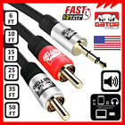 AUX Audio 3.5mm Stereo Male to 2RCA Y Cable Cord Plug Gold for iPhone Samsung HD