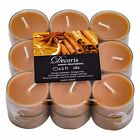 PACK OF 18 ORANGE & CINNAMON SCENTED TEA LIGHTS IN CLEAR CUPS BRAND NEW