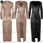 Ladies Satin Fabric V Plunge Long Dress Back Zip Full Sleeve Two in One Playsuit