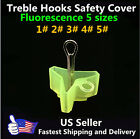 5 Sizes Fluorescent treble hooks safety cover protector case