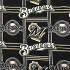 Milwaukee Brewers Black Gold and White Fleece Fabric By The Yard on Ebay