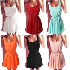 Sexy Womens Summer Beach O-Neck Casual Evening Party Short Mini Chiffon Dress