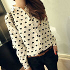 US Fashion Women Long Sleeve Shirt Chiffon Lady Love Heart Sweet Business Blouse