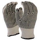 12 Pairs Natural 7 Gauge Poly Cotton Double Side PVC Work Safety Glove - New