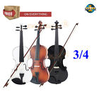3/4 Full Size Natural Acoustic Wood Violin Fiddle + Case +Bow+Rosin Gift 3 Color