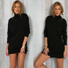 Warm Fashion Womens Long Sleeve Turtleneck Sweater Bodycon Dress Evening Party