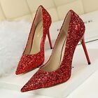 Pointed Toe Stiletto High Heel Women Bling Sequin Classic Pumps Party Club Shoes