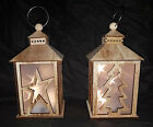 New Rustic Pre-Lit 3D LED Hologram Floating Star Wooden Christmas Candle Lantern