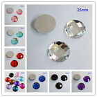 25MM Round Flatback Rhinestone Square Facets Acrylic Diamond Craft DIY Scrapbook