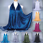 Womens Muslim Long Cotton Hijab Shawl Scarf Tassel Scarves Stole Wrap Pashmina