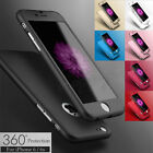 Hybrid 360° Hard Ultra thin Case+Tempered Glass Cover For iPhone 7 6 6s 6+ 5 5s