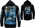 New Wolf Pack Howling Wolf at Moon Zip Zipped Hoodie Hoody Jacket M - 3XL