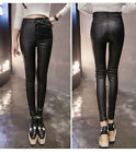 WOMEN BLACK HIGH WAISTED FAUX LEATHER BIKER SKINNY  TROUSERS PANTS SIZE  6-14