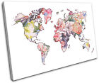 Foral Vintage World Map Maps Flags SINGLE CANVAS WALL ART Picture Print