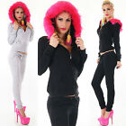 HOT Sexy Women's Jumpsuit Faux Fur Hood Overall Fitness Tracksuit Size 8,10,12