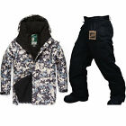Southplay Winter Waterproof Skiing- Snowboard (Black Military Jacket , Pants)