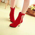 Women Faux Suede Thick block Heel Pointed Zip Metal decorative Ankle Boots US SZ