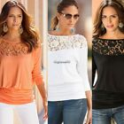 Fashion Women Winter Autumn Lace Floral Sheer Punk Fall T-Shirt Tee Tops CaF8