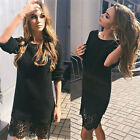 Fashion Womens Long-Sleeve Round neck Evening Party Cocktail Mini Dress Lace