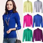 Hot Women Solid Color Vertical Stripes Long Sleeve Turtleneck Sweater Blouse Hot