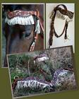 USA made ALAMO Wave Headstall Breastplate Tan Turquoise Filigree Metallic Fringe