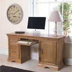 Marseille solid oak furniture large twin pedestal office PC computer desk