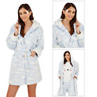 Loungeable Boutique Womens Luxury Cloud Print Thigh Length Hooded Night Gown