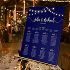 Personalised Wedding Table Seating Plan-Festoon-String of Lights-Navy A1-A2-A3