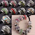 Lots Crystal Rhinestone Drum Charms Big Hole Beads Fit European Chain Bracelet