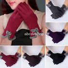 Womens Ladies Bow Fleece Thermal Lined Touch Screen Gloves Winter Warm New