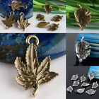 Tibetan Silver / Bronze Carved Maple Leaf Leaves Beads Pendant Charms Findings