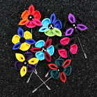 Mens Flower Boutonniere Stick Brooch Pin Accessories Lapel Pin Brooch 10color