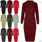 Women Polo High Turtle Neck Long Sleeve Ladies Ribbed Knitted Bodycon Midi Dress
