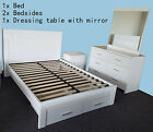 Brand New Solid Wood Modern White Timber Queen/King Size Bed  4 Pieces Suite