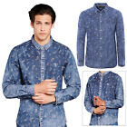 Brave Soul Mens Daryl Shirt Designer Washed Denim Paisley Print Long Sleeve Top