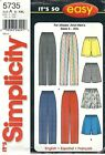 Simplicity 5735 Misses' and Men's Pants or Shorts 34 to 52  Sewing Pattern