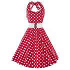 Women 50's 60's Polka Dots Swing Pinup Cocktail Party Prom Halter Vintage Dress