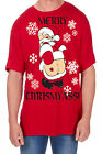 Adults Novelty Merry Print T-Shirt Christmas Explicit Festive Funny Rude Top
