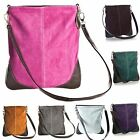 Big Handbag Real Suede Leather Messenger Cross Body Shoulder Bag with Faux Trim