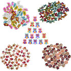 20/50/100pcs Vintage Wood Painting Painted Wooden Buttons Craft Buttons Novelty