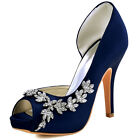 HP1560IAC High Heels Pump Peep Toe Platform Rhinestone Satin Evening Party Shoes