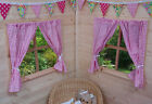 GIRLS PLAYHOUSE CURTAINS ~ TRADITIONAL PINK GINGHAM ~ INCLUDES FITTINGS