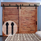 Bypass 4FT-20FT Country Sliding Barn Double Wood Door Hardware Closet Kit Rustic