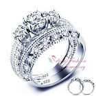 925 Sterling Silver 3A Grade CZ 3 Stones Hollow Out Band Engagement Ring Set