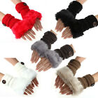 Women Girl Plush Fur Hand Wrist Winter Warmer Knitted Fingerless Mittens Gloves