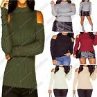 New Ladies Turtle High Neck Cut Out Shoulder Ribbed Knitted Long Sleeve Jumper