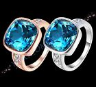 Luxury Platinum Plated or Rose Gold Plated Blue Glass Ring