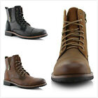 Brand New Men's Lace Up Cap Toe Side Zipper Military Combat Work Ankle Boots