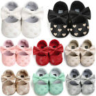 Baby Newborn Kids Girls Bow Leather Soft Crib Shoes Anti-slip Sneakers Prewalker