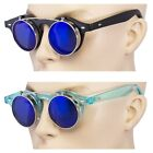 2 Pair Cool Flip Up Lens Steampunk Vintage Retro Round Sunglasses Light Blue  Z